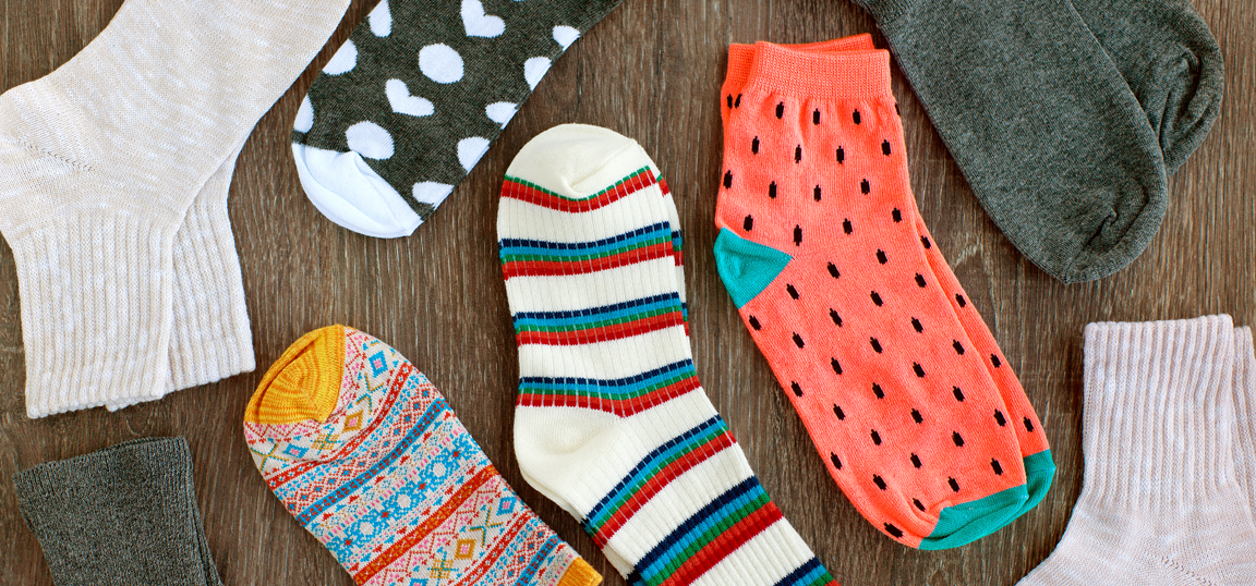Different coloured pairs of socks