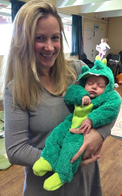Rachael bland holding her baby