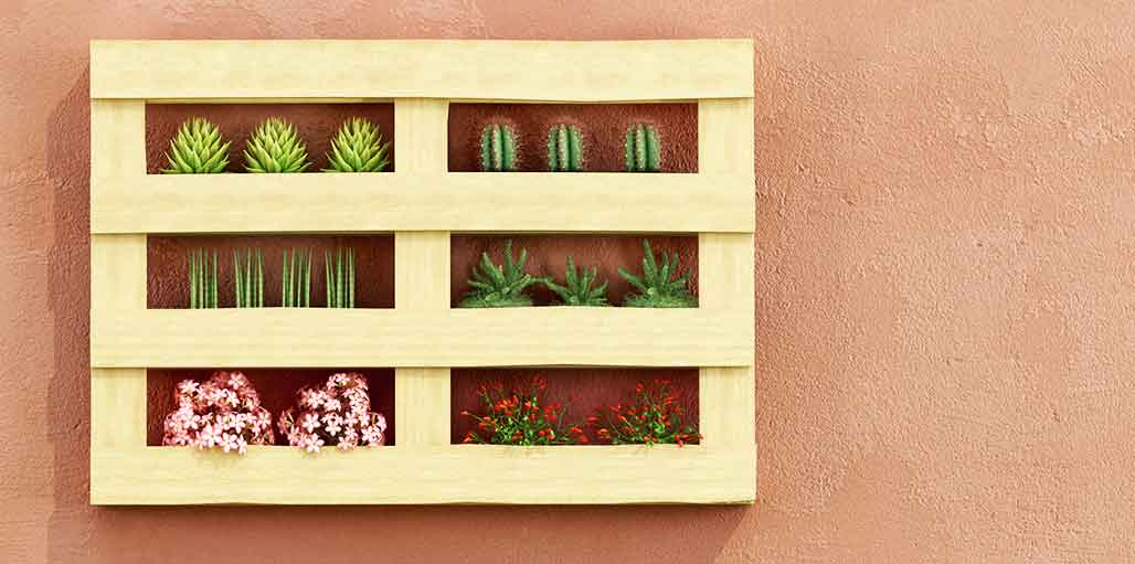 Pallet on garden wall, red flowers