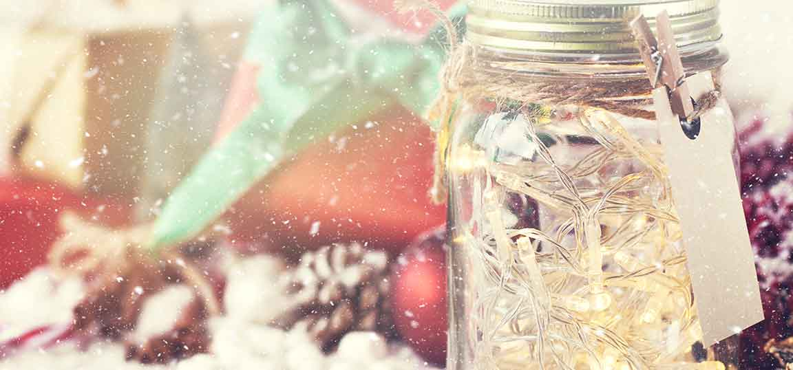 Christmas lights in a jar
