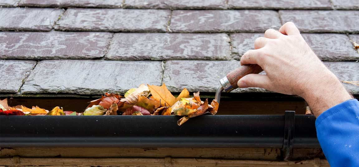 Man clearing gutters