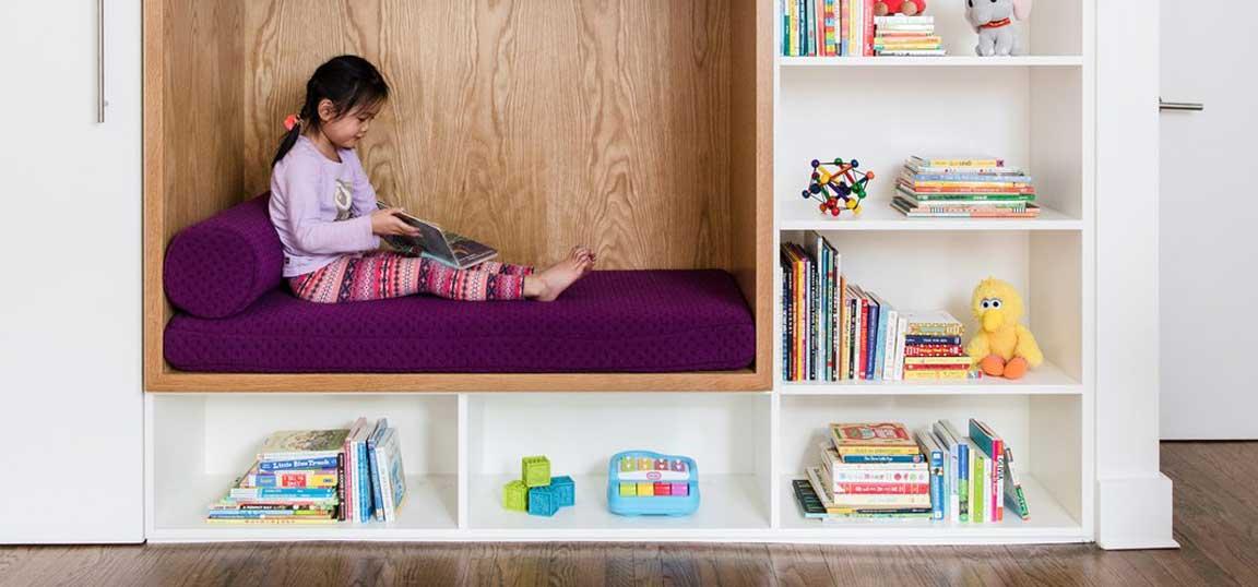 Little girl in reading den