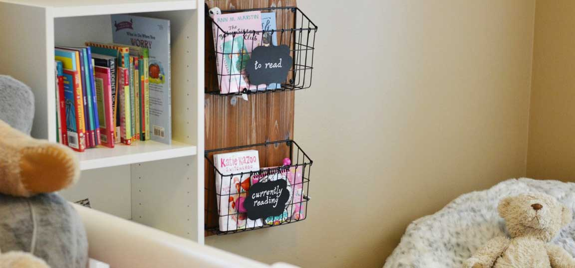 Baskets holding books