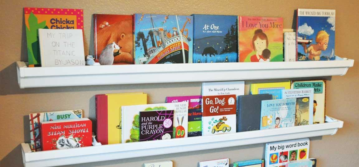 Shelves made from guttering
