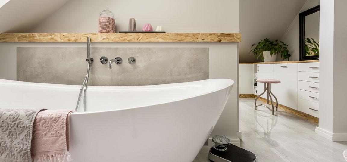 Bath in bathroom