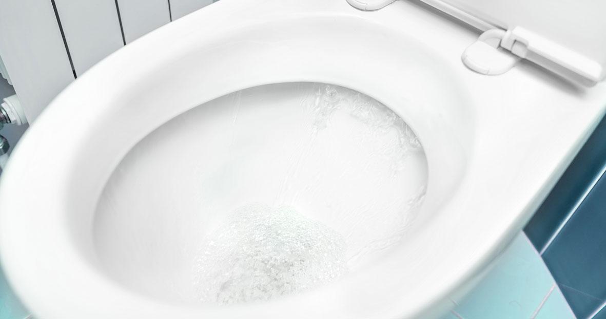 A toilet flushing